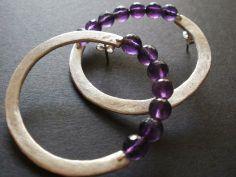Earrings. Silver 925, amethysts