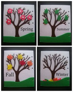 Adorable quiet book page - a simple tree with bare branches that the child adds…