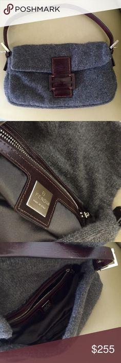 Fendi Gray 100% Cashmere Baguette Handbag Fendi Gray 100% Cashmere. Simply Gorgeous  Handbag c2cc5ed11c11f