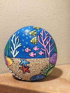 Fish bowl painted rock by cat - bowl .-Fischschüssel Painted Rock von Cat – Fish bowl Painted Rock by Cat – bowl - Pebble Painting, Ceramic Painting, Pebble Art, Ceramic Art, Stone Painting, Painting Art, Rock Painting Patterns, Rock Painting Ideas Easy, Rock Painting Designs