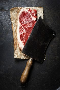 vintage cleaver and raw beef steak by Natalia Klenova Photograp on Boeuf Wagyu, Carnicerias Ideas, Easy Beef Wellington, Healthy Beef Stroganoff, Steak And Ale, Dark Food Photography, Meat Shop, Beef Steak, Roast Beef