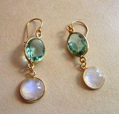 Green topaz moonstone Earrings/ Green Earrings/ Bezel Earrings / Bridal Jewelry / Moonstone Earring, Bezel Gold earrings, Gemstone earrings