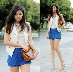 Sheinside White Vest, Sheinside Blue Chiffon Skort, Zara 'Paper Bag', Zara Nude Heeled Sandals