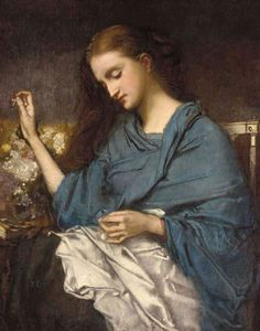 Une Jeune Femme Cousant byThomas Couture (1815-1879 French) Influential French history painter and teacher of other well known artists.