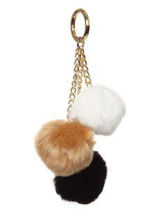 Neutral Faux Fur Triple Pom Pom - Dorothy Perkins