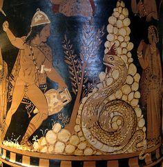 Cadmo lucha con el dragón Detalle de crátera de Campania, 350 a.n.e. Museo del Louvre