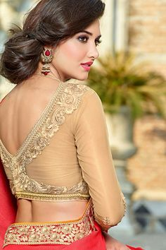 Prettiest Golden Embellished Silk Blouse front-back neck full-short sleeves party wedding fashion trend pattern styles for Saree & Lehenga. Beautiful Girl Indian, Beautiful Girl Image, Beautiful Saree, Beautiful Indian Actress, Beautiful Actresses, Beauty Full Girl, Beauty Women, Glamour, Saree Photoshoot