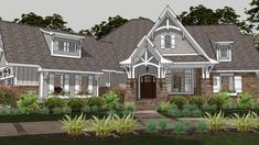 Craftsman details create a charming exterior for this lovely one-story house plan. Beyond the inviting front porch, the foyer directs guests into the roomy family room, which is accented by a stately fireplace. A rear lanai offers a delightful spot to relax on throughout the seasons. The family chef will love the island kitchen, which serves the formal dining room and the casual breakfast nook with ease.
