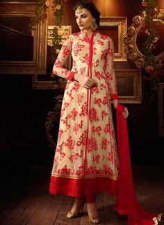 Beige Red Embroidery Resham Work Net Long Designer   Suit http://www.angelnx.com/Salwar-Kameez/Anarkali-Suits