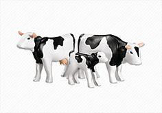 Famiglia di mucche bianche e nere