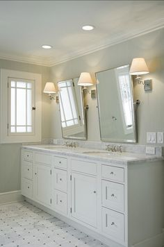 I Wouldnt Have The Tilted Mirrorsdust Collectors Better Flat On Wall Otherwise Fantastic Double Vanity Area Especially Marble Counter