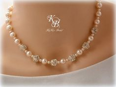 Pearl and Rhinestone Necklace, Bridal Necklace, Wedding Jewelry, Pearl Necklace, Bridal Shower Gift, Prom Jewelry, Anniversary Gift, Wedding | KyKy's Bridal, Handmade Bridal Jewelry, Wedding Jewelry