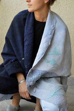 Women coat Felted coat  Jacket Hand made Clothing Black