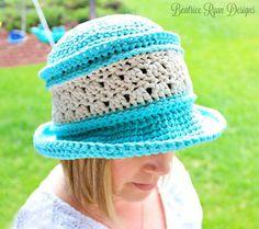 Amazing Grace Blissful Summer Hat | AllFreeCrochet.com      Bulky Weight (5) Bernat cotton yarn, K hook