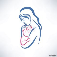 Vector: mother and son vector symbol