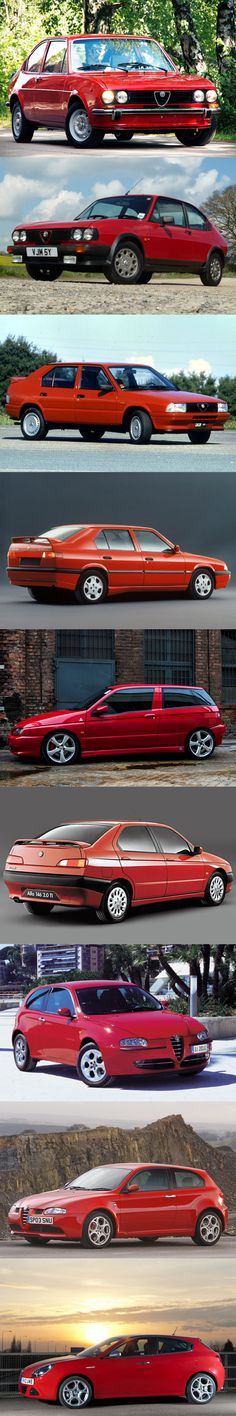 Alfa Romeo compact car evolution / 1971 Alfasud / 1980 Alfasud facelift / 1983 33 / 1990 33 facelift / 1994 145 / 1995 146 / 2000 147 / 2004 147 facelift / 2010 Giulietta / Italy / red / GTA / #list