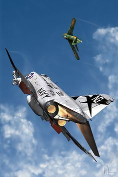 phantom chasing mig 17 in the Vietnam war Military Jets, Military Aircraft, Navy Aircraft, Fighter Aircraft, Fighter Jets, Image Avion, Photo Avion, F4 Phantom, Airplane Art