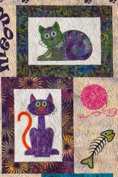 Classic Cats Meow Appliqué Quilt Pattern Tap the link Now - The Best Cat Products We Found Worldwide Small Quilts, Mini Quilts, Baby Quilts, Quilting Projects, Quilting Designs, Baby Applique, Applique Quilt Patterns, Patch Aplique, Animal Quilts