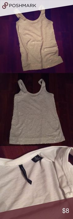 White tank w/ white sequin tank by ISDA & Co - Med Worn a couple times - new condition. Back is solid white - no sequin ISDA & Co. Tops Tank Tops