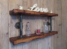Excited to share the latest addition to my #etsy shop: Industrial double pipe shelf,rustic shelf,pipe shelf,industrial shelving,rustickitchen shelf,bathroom storage http://etsy.me/2nty3Cq #furniture #storage #wood #housewarming #industrialshelf #pipeshelf #rusticshelf