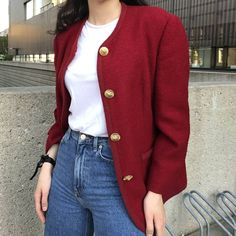 """Vintage 60s oversized blazer in cherry red. features golden buttons with lion head design. padded shoulders. 90% Virgin Wool 10% Polyester, Lining 100% Acetate.  You will definitely stand out with this blazer. Very elegant and beautiful find. The buttons are a statement in of itself.  Fits Size S-L depending on styling .  Model Size S, model height 1,78m/5'10"""". Dm Instagram, Oversized Blazer, Donate To Charity, Cherry Red, Lion, Buttons, Elegant, Model, Sweaters"""