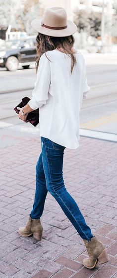 #thanksgiving #fashion · White Shirt // Beige Hat // Skinny Jeans // Ankle Boots // Velvet Clutch