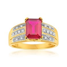 Created Ruby and Diamond Cocktail Ring in 9ct Yellow Gold image-a