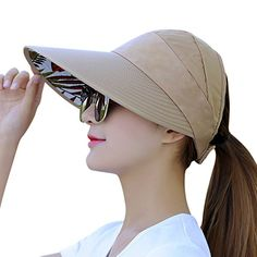 713ac9de315978 Sun Hats for Women HindaWi Wide Brim UV Protection Summer Beach Visor Cap,  Tan