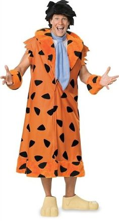 The Flintstones Fred Costume, Orange/Black,  #halloweencostumesboutique