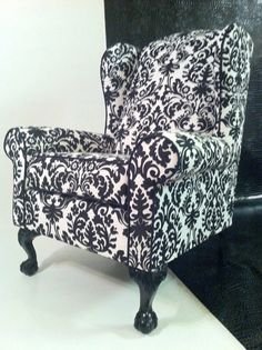 Black and White Damask Wing Back Chair by poeticrockstar on Etsy, $695.00