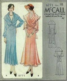 1930s Ladies Dress With Shawl Drape Neckline Sewing Pattern - McCall #6771