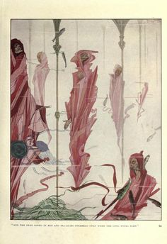 """1920 Harry Clarke (Irish, 1889-1931) ~""""And the dead robed in red and sea-lilies overhead sway when the long winds blow""""fromThe Year's at the Spring"""