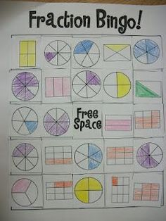 fraction bingo - students make their own boards. You can take it a step further by calling out addition and subtraction problems, equivalent fractions, percentages, and decimals for students to solve/convert.