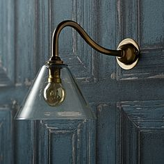 """Hazelette wall light in clear blown glass with """"swan neck"""" wall fitting in antiqued brass Pooky Lighting, Wall Light Fittings, Living Room Accessories, French Country Cottage, Wall Lights, Wall Lamps, Antique Brass, Swan, Clear Glass"""