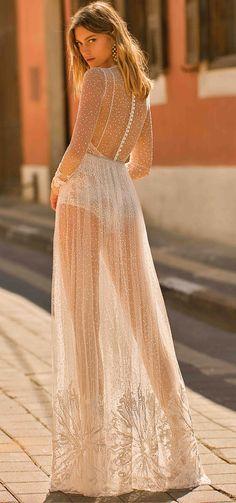 "Muse by Berta 2020 Wedding Dresses — ""Tel Aviv"" Bridal Collection Wedding Dress Types, Sheer Wedding Dress, Wedding Dress Pictures, Wedding Dresses, Sheer Long Sleeve Dress, Sheer Dress, Muse By Berta, Sheer Clothing, Types Of Dresses"