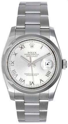 Rolex Mens Datejust Steel Watch Slate Roman Dial