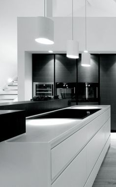 Beautiful #kitchen design - #modern #minimalist and black and white