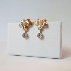 tropical flower earrings gold with cz dangle gold orchid earrings formal occasion wear earrings jewellery jewelry