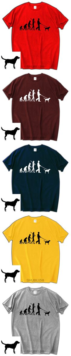 Evolution of man T-shirt cotton brand tops Labrador Hound dog lover gift birthday present for him fashion brand tops