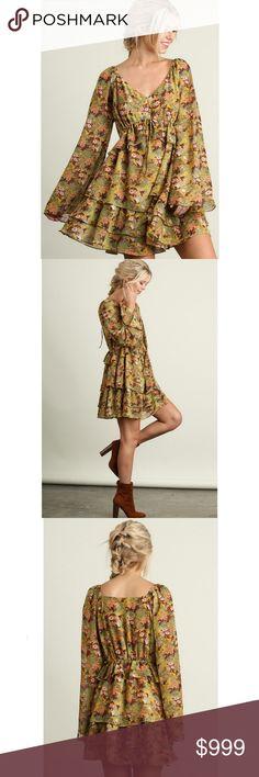 Coming Soon! Mustard floral boho peasant dress Model is 5'8 and is wearing the small   Sorry, NO TRADES  Price firm unless bundled   Save money and bundle! Save 10 percent on any bundle of 2 or more items! Dresses