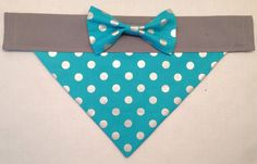 Dog Bandan  Turquoise and Silver Polka Dot with by SpottedDogShop, $9.95