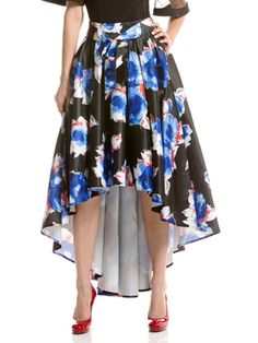 Floral print high-low skirt with ribbon belt