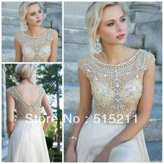 Modest White Chiffon Cap Sleeves Prom Long Dresses With Crystals Beaded 2014 New Women Evening Party Gowns