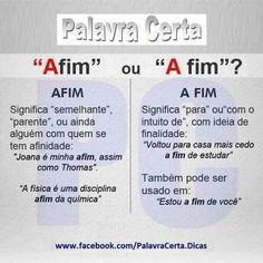 """Palava Certa-''Afim"""" ou ''A fim""""?"""