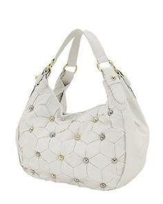 Studded Handbag Designer Inspired Purse White