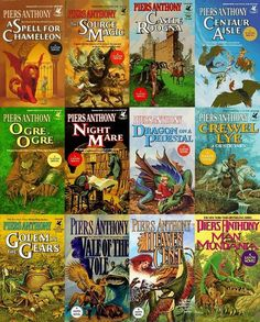 Xanth novels - by Piers Anthony.  I want to pick these up again.  I read a Piers Anthony book in high school...want to see if I like them still.