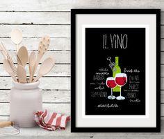 Il vino - Typography poster art print italian cooking wine letterpress - Kitchen wall decor. $26.00, via Etsy.    http://www.etsy.com/listing/114001144/il-vino-typography-poster-art-print?