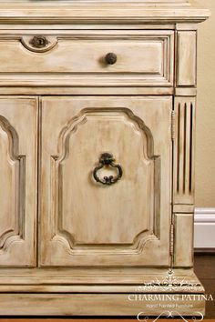 Hand Painted French Provincial Buffet Hutch