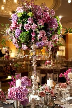 lovely centerpieces in #greens and #purples