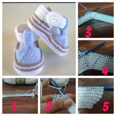 Cool Baby Shoes Making # knitting - Thoughts & Ideas & Suggestions Crochet Baby Shoes, Crochet Slippers, Booties Crochet, Baby Booties, Knitting For Kids, Baby Knitting Patterns, Baby Cardigan, Baby Socks, Baby Winter